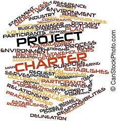Abstract word cloud for Project charter with related tags and terms