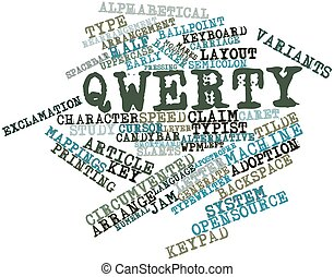 Abstract word cloud for QWERTY with related tags and terms