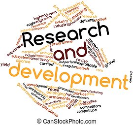 Abstract word cloud for Research and development with related tags and terms