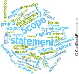 Scope statement - Abstract word cloud for Scope statement...