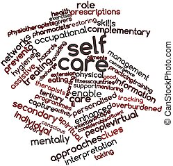 Self care - Abstract word cloud for Self care with related...