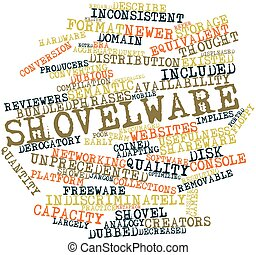 Abstract word cloud for Shovelware with related tags and terms