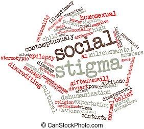 Social stigma - Abstract word cloud for Social stigma with...