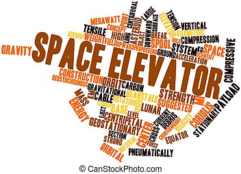 Space elevator - Abstract word cloud for Space elevator with...