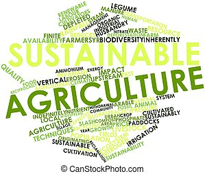 Abstract word cloud for Sustainable agriculture with related tags and terms