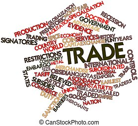 Abstract word cloud for Trade with related tags and terms