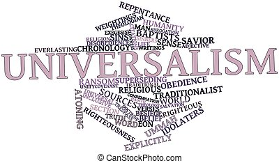 Abstract word cloud for Universalism with related tags and terms