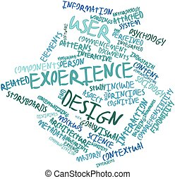 Abstract word cloud for User experience design with related tags and terms