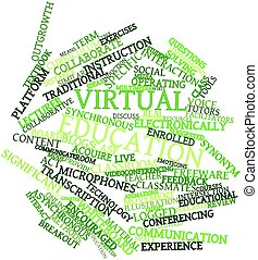 Virtual education - Abstract word cloud for Virtual...