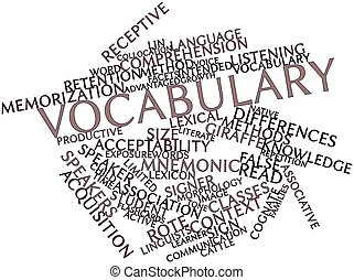 Vocabulary - Abstract word cloud for Vocabulary with related...