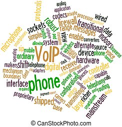 VoIP phone - Abstract word cloud for VoIP phone with related...
