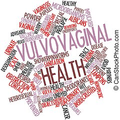Abstract word cloud for Vulvovaginal health with related tags and terms
