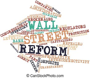 Abstract word cloud for Wall Street reform with related tags and terms