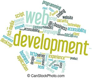 Abstract word cloud for Web Development with related tags and terms
