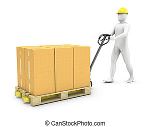 Abstract worker moves cargo on a pallet jack