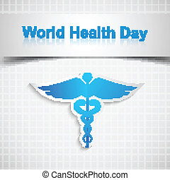 Abstract world health day medical background with caduceus medical symbol vector