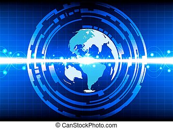 Abstract world line circle effect on blue background