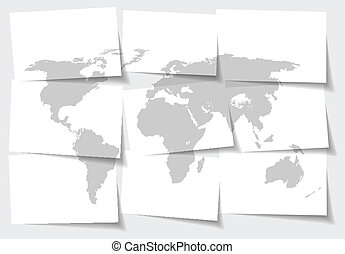 Abstract World map concept of separated note papers background - vector illustration
