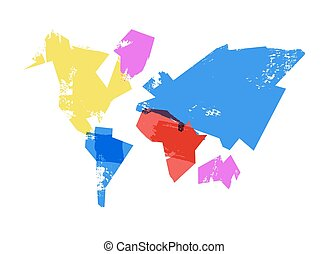 Abstract world map hand drawn concept illustration - ...