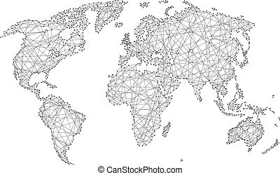abstract world map of polygonal lines and dots on a white background of vector illustration