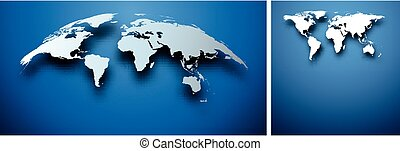 Abstract world map on blue.