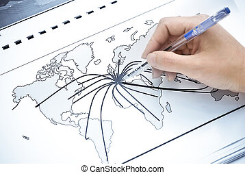 Abstract world map with continent points and lines