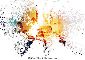 Abstract world with businessperson. Concept of global internet. Double exposure