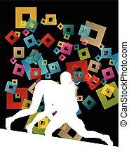 abstract, worstelen, jonge, illustratie, griekse , romein, vector, achtergrond, actief, silhouettes, sportende, vrouwen
