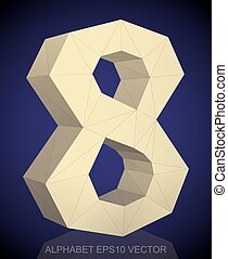 Abstract Yellow 3D polygonal 8 with reflection. EPS 10 vector.