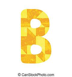 Abstract yellow alphabet B