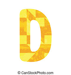 Abstract yellow alphabet D