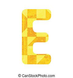 Abstract yellow alphabet E