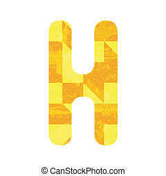 Abstract yellow alphabet H