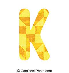 Abstract yellow alphabet K