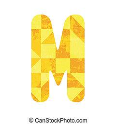 Abstract yellow alphabet M