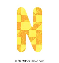 Abstract yellow alphabet N