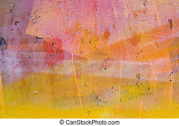 abstract yellow and red painted wall