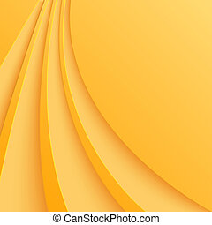 Abstract yellow background with curved lines. Vector...