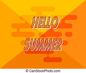 Abstract yellow background with  hello summer. Vector illustration