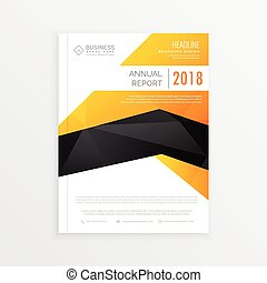 abstract yellow, black and white magazine brochure page design
