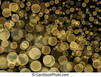 Abstract Yellow Bokeh Bubbles on Black Background