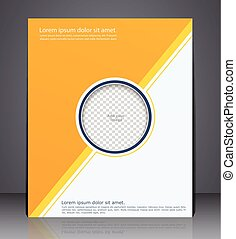 Abstract yellow business brochure, flyer with an insert for photo, design in A4 size.