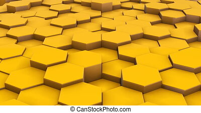 Abstract yellow cubes 3d motion footage