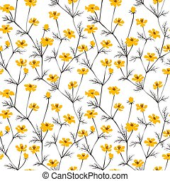 Abstract yellow flowers seamless background.