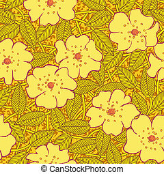 abstract yellow flowers seamless pattern