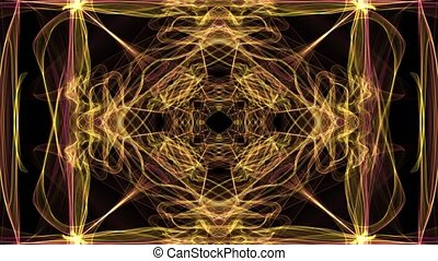 Abstract yellow fractal patterns on black background. Square beautiful ornament in tunnel motion, nice festive decoration.