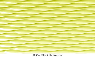 Abstract yellow plastic waves. Loopable motion background