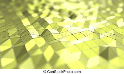 Abstract yellow polygonal surface. 3D design related motion...