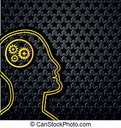 Abstract yellow technology head on star background