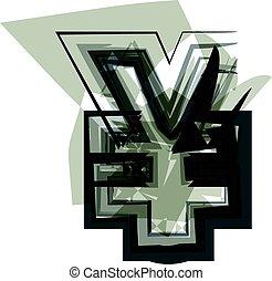 Abstract Yen Symbol illustration